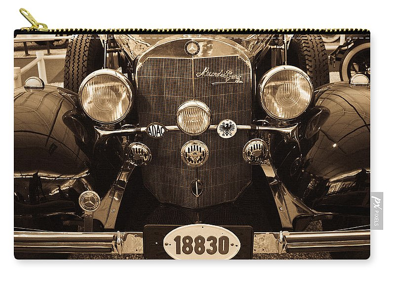 Mercedes Carry-all Pouch featuring the photograph Antique Mercedes Benz In Sepia by Douglas Barnett