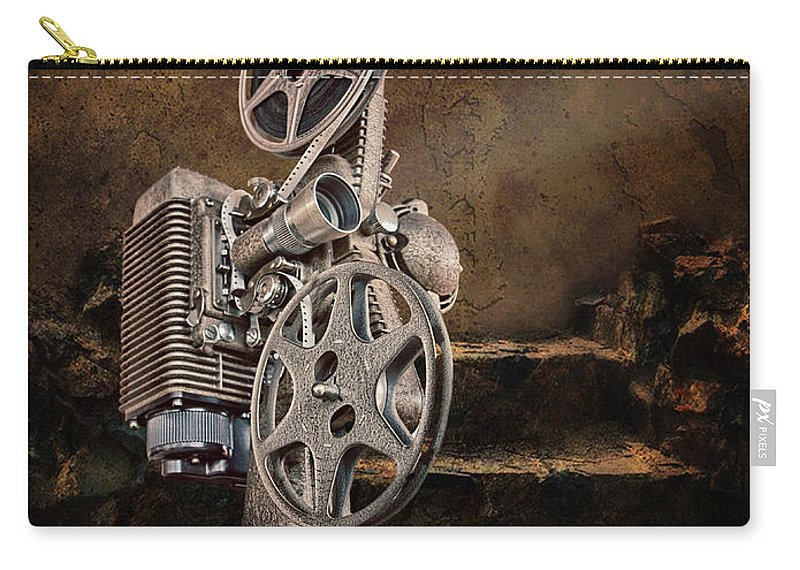 Movie Projector Carry-all Pouch featuring the photograph Antique Movie Projector by Ronel Broderick