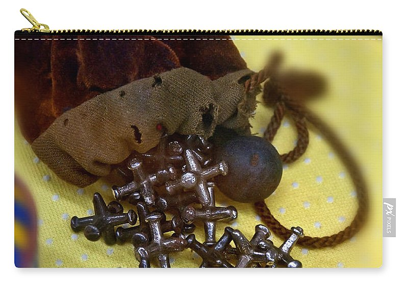 Aged Carry-all Pouch featuring the photograph Antique Pouch Of Ball And Jacks Game Art Prints by Valerie Garner