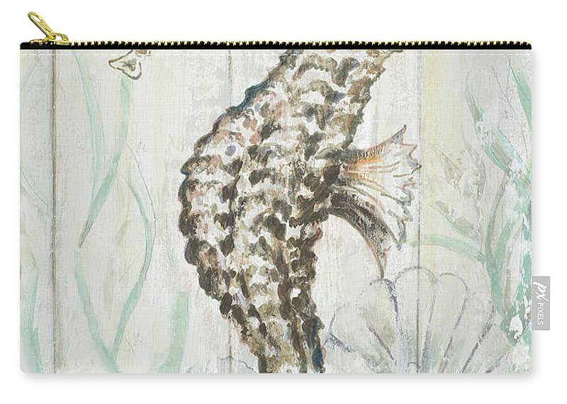 Antique Carry-all Pouch featuring the digital art Antique Sea Horse II by Patricia Pinto