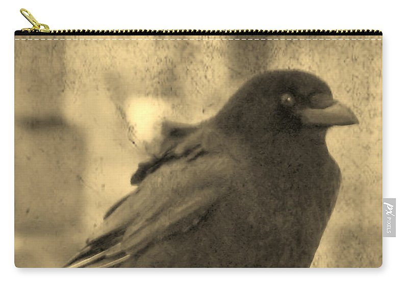 Sepia Carry-all Pouch featuring the photograph Antique Sepia Crow by Gothicrow Images