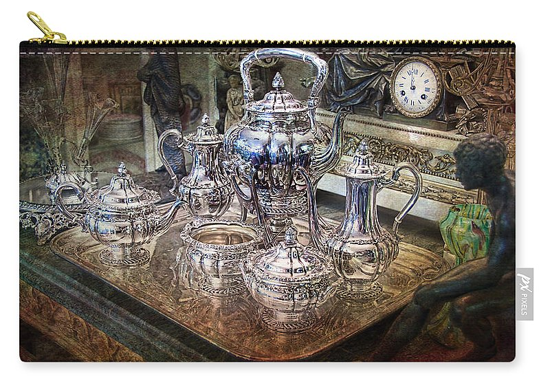 Antique Carry-all Pouch featuring the photograph Antique Tiffany Sterling Silver Coffee Tea Set by Gunter Nezhoda