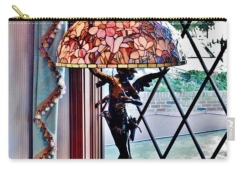 Antique Carry-all Pouch featuring the photograph Antique Victorian Lamp At The Boardwalk Plaza - Rehoboth Beach Delaware by Kim Bemis