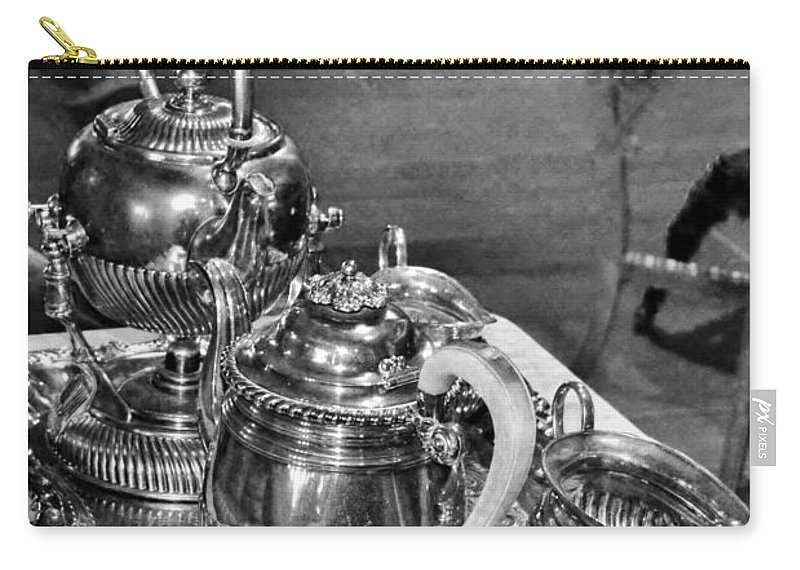 Antique Carry-all Pouch featuring the photograph Antique Victorian Tea Service In The Boardwalk Plaza Lobby - Rehoboth Beach Delaware by Kim Bemis