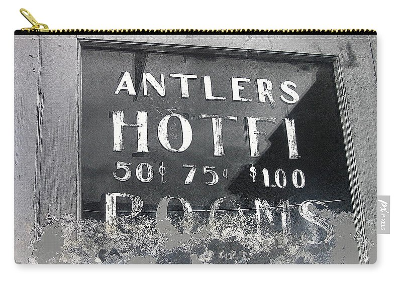 Antler's Hotel Front Door Ghost Town Victor Colorado Black And White Film Noir Carry-all Pouch featuring the photograph Antler's Hotel Front Door Ghost Town Victor Colorado 1971 1971-2013 by David Lee Guss