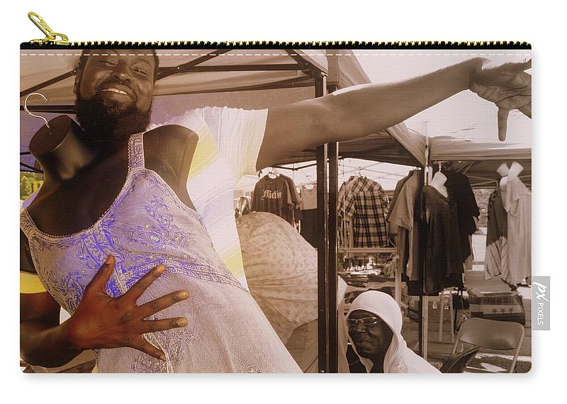 Dress Carry-all Pouch featuring the photograph Anything For A Sale by Kathy Barney