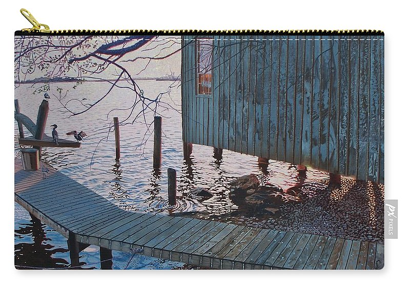 Florida Carry-all Pouch featuring the painting Apalachacola Fish House by Alan Mintz