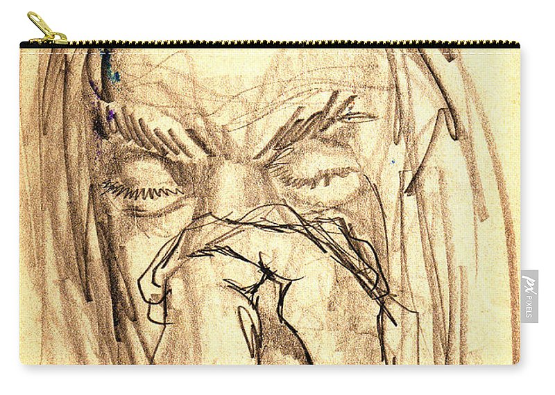 Apostle's Prayers Carry-all Pouch featuring the drawing Apostle's Prayers by Seth Weaver