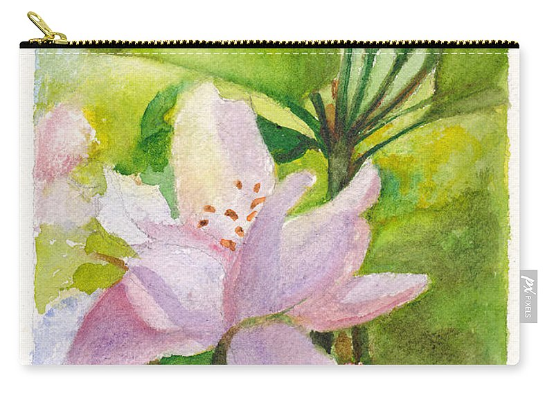 Flowers Carry-all Pouch featuring the painting Apple Blossom And Buds by Dai Wynn
