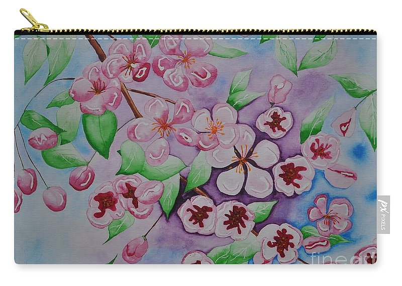 Pink Carry-all Pouch featuring the painting Apple Blossoms by Sally Rice