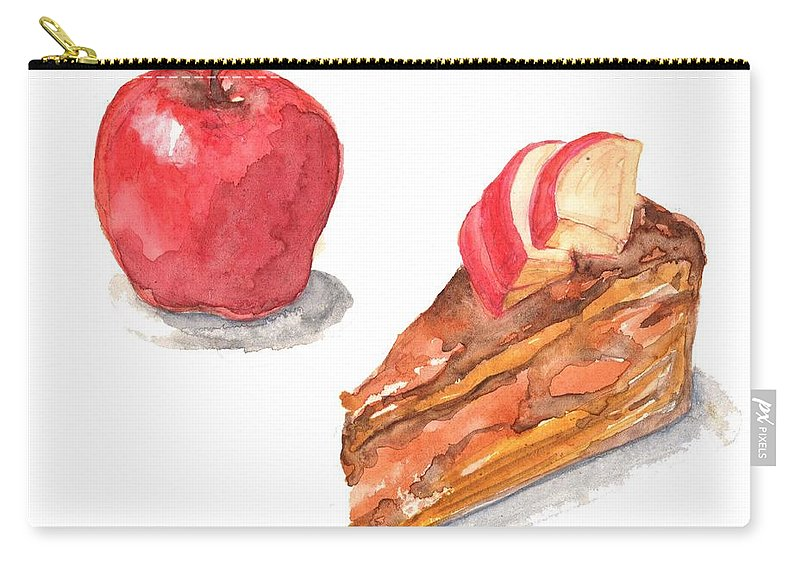 Watercolor Painting Carry-all Pouch featuring the digital art Apple Cake by Kana hata