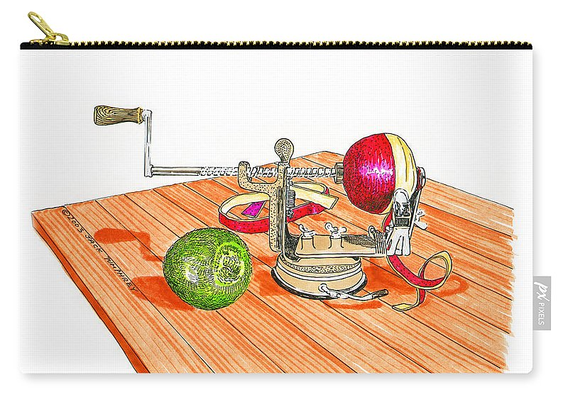 A Cook Book Illustration By Jack Pumphrey Of A 1909 Antique Hand Crank Apple Peeler Carry-all Pouch featuring the painting 1909 Vintage Apple Peeler Hand Crank by Jack Pumphrey