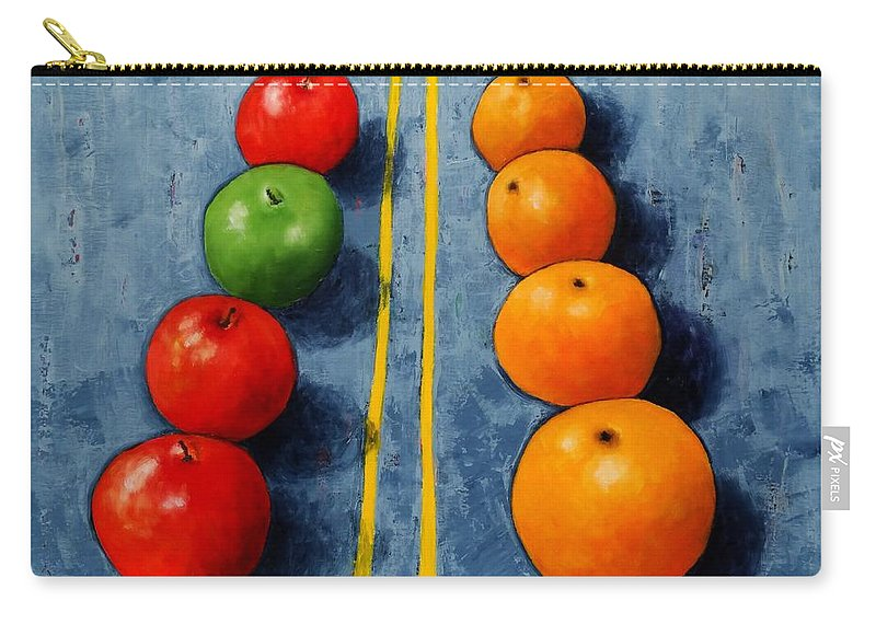 Apples Carry-all Pouch featuring the painting Apples Vs Oranges by Vicki Rees