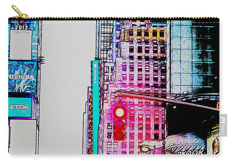 Digital Art Carry-all Pouch featuring the digital art Approaching Times Square by Teresa Mucha