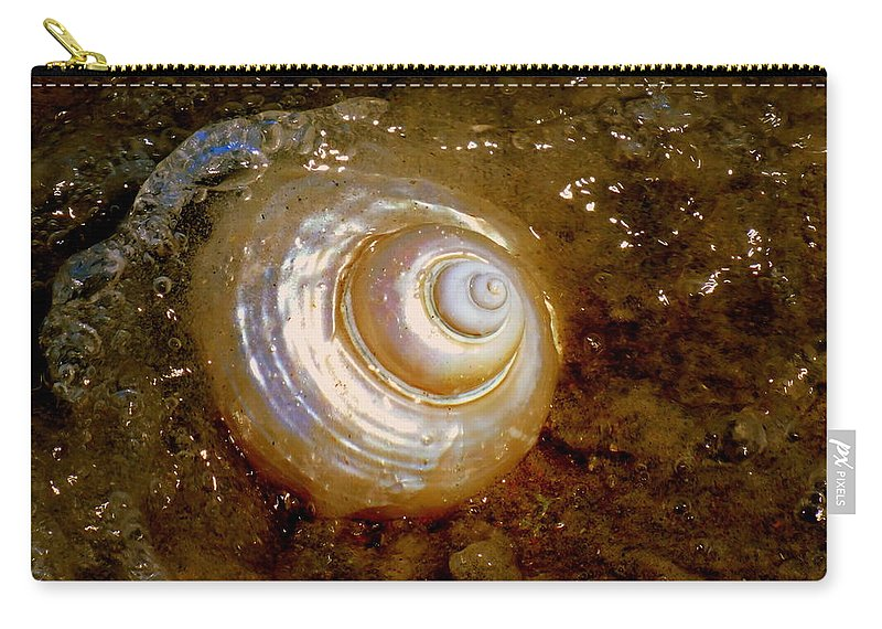 Seashells Carry-all Pouch featuring the photograph Apricot Oceans by Karen Wiles