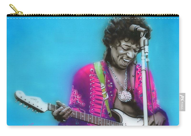 Jimi Hendrix Carry-all Pouch featuring the painting Aqua Haze by Christian Chapman Art