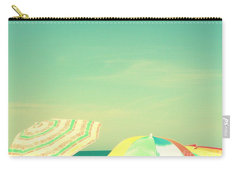 Aqua Carry-all Pouch featuring the digital art Aqua Sky With Umbrellas by Valerie Reeves
