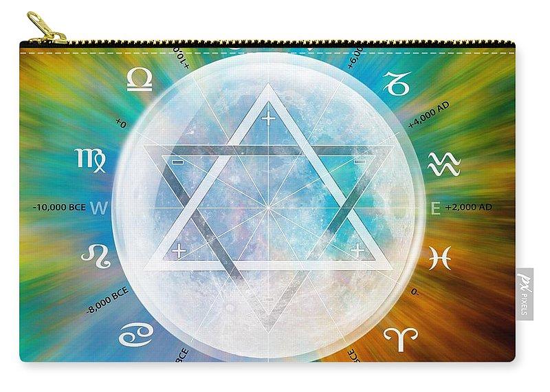 Sacredlife Mandalas Carry-all Pouch featuring the digital art Aquarian Moon Yuga by Derek Gedney