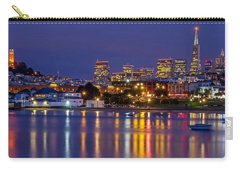 Aquatic Park Carry-all Pouch featuring the photograph Aquatic Park Blue Hour by Kate Brown