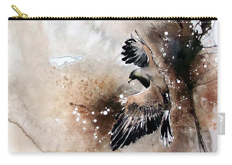 Birds Carry-all Pouch featuring the painting Aqvila Non Capit Muscas by Mugur Popa