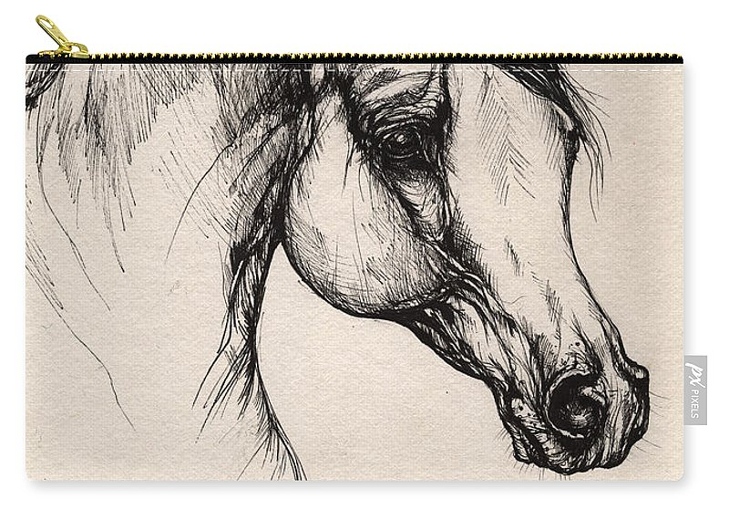 Horse Carry-all Pouch featuring the drawing Arabian Horse Drawing 24 by Angel Ciesniarska