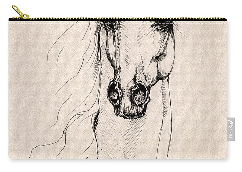 Horse Carry-all Pouch featuring the drawing Arabian Horse Drawing 25 by Angel Ciesniarska