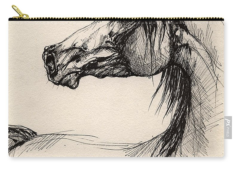 Horse Drawing Carry-all Pouch featuring the drawing Arabian Horse Drawing 26 by Angel Ciesniarska