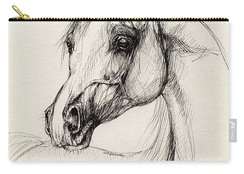 Horse Carry-all Pouch featuring the drawing Arabian Horse Drawing 27 by Angel Tarantella