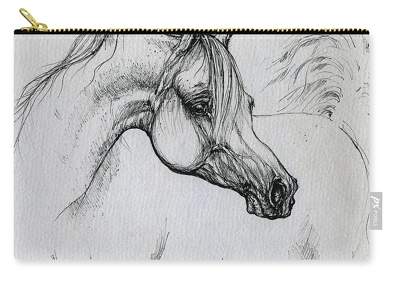Horse Carry-all Pouch featuring the drawing Arabian Horse Drawing 28 by Angel Ciesniarska