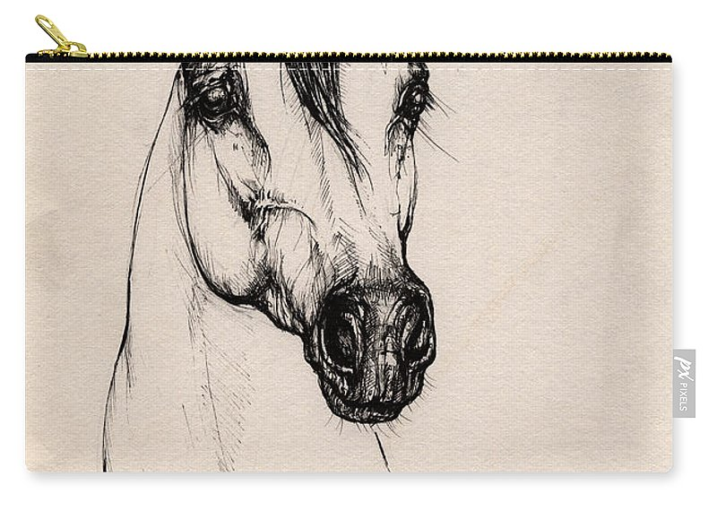 Arabian Horse Carry-all Pouch featuring the drawing Arabian Horse Drawing 29 by Angel Tarantella