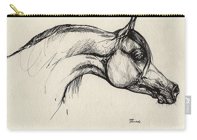 Horse Carry-all Pouch featuring the drawing Arabian Horse Drawing 30 by Angel Ciesniarska