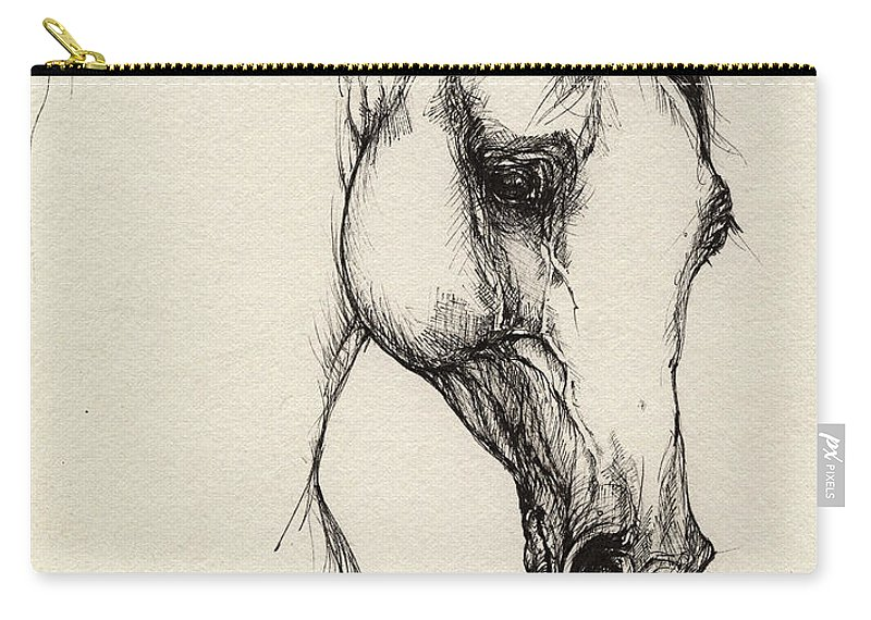 Horse Carry-all Pouch featuring the drawing Arabian Horse Drawing 32 by Angel Tarantella