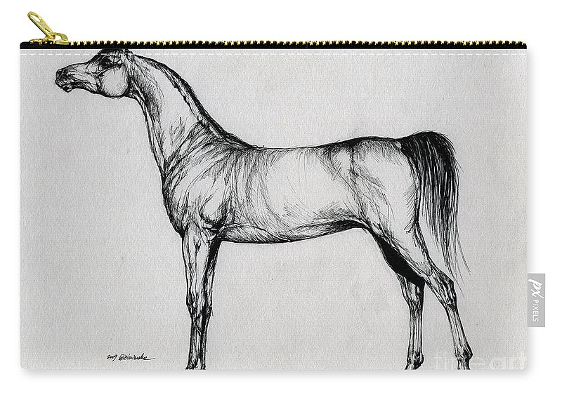 Arab Carry-all Pouch featuring the drawing Arabian Horse Drawing 34 by Angel Ciesniarska