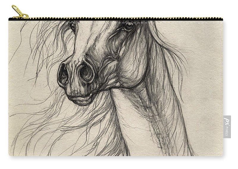 Horse Carry-all Pouch featuring the drawing Arabian Horse Drawing 37 by Angel Ciesniarska