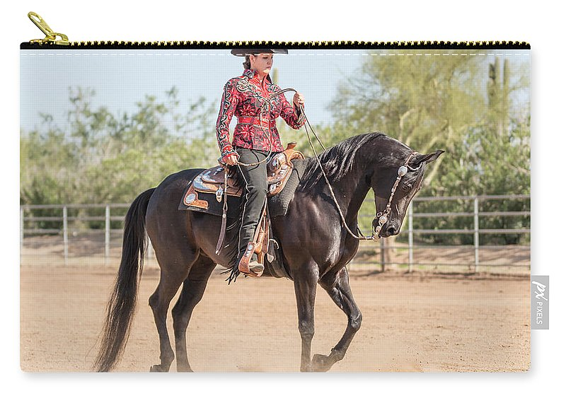 Horse Carry-all Pouch featuring the photograph Arabian Horse With Rider Dressed For by Lokibaho