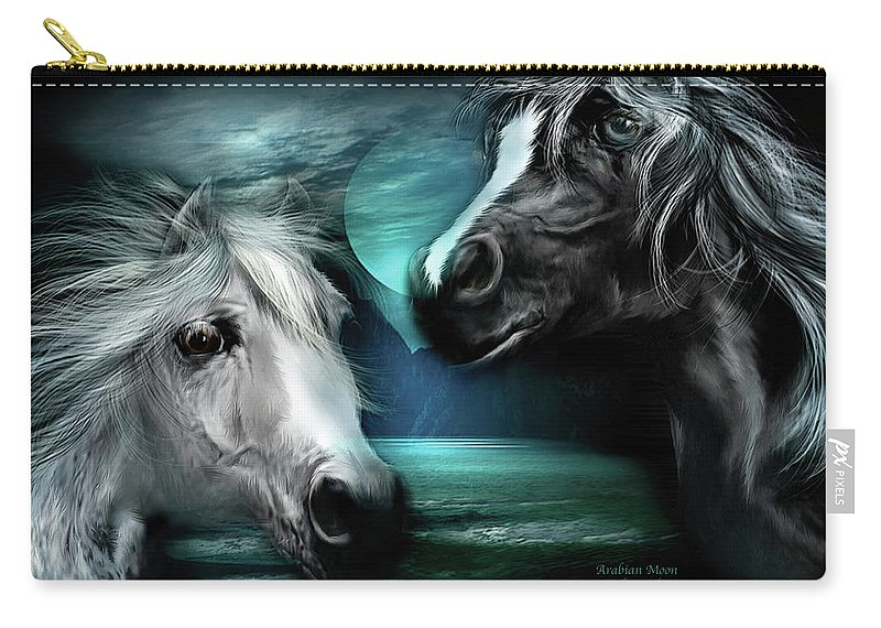 Horse Carry-all Pouch featuring the mixed media Arabian Moon by Carol Cavalaris