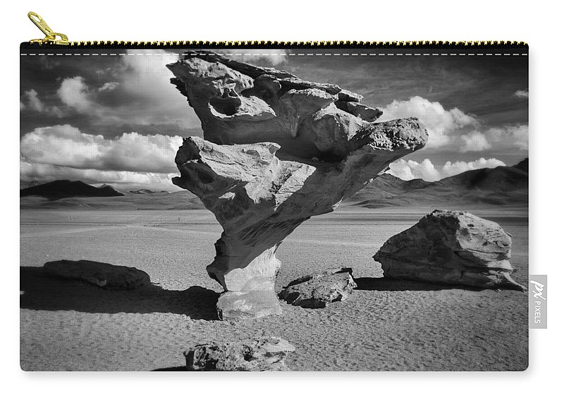 Árbol De Piedra Carry-all Pouch featuring the photograph Arbol De Piedra Black And White Framed by For Ninety One Days