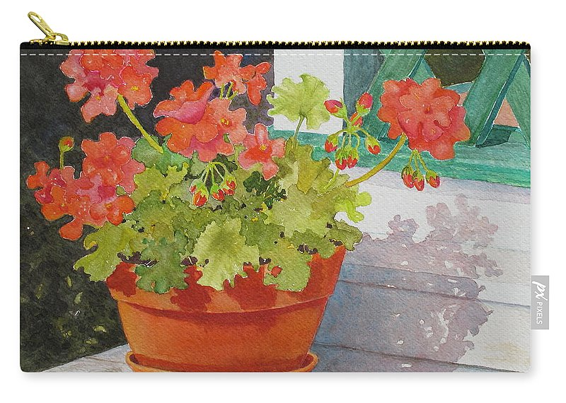 Flowers Carry-all Pouch featuring the painting Arbor Gallery Steps by Mary Ellen Mueller Legault