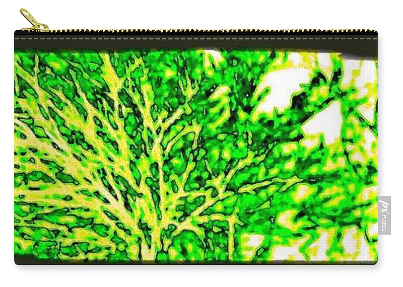 Arbres Verts Carry-all Pouch featuring the digital art Arbres Verts by Will Borden