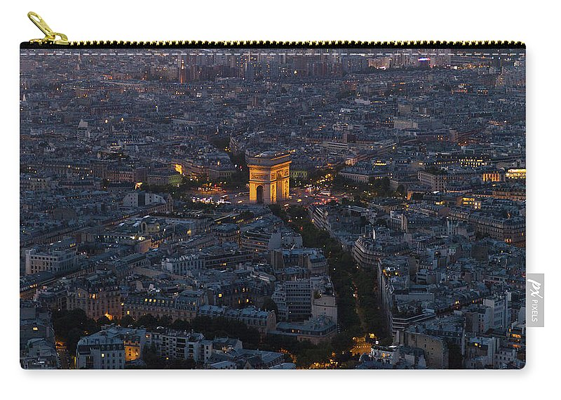 Arc De Triomphe Carry-all Pouch featuring the photograph Arc De Triomphe From Above by Maj Seda