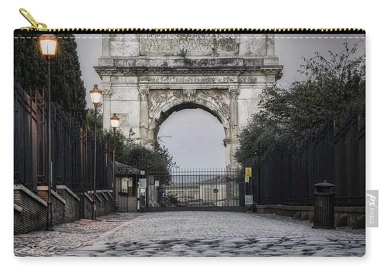 Ancient Carry-all Pouch featuring the photograph Arch Of Titus Morning Glow by Joan Carroll