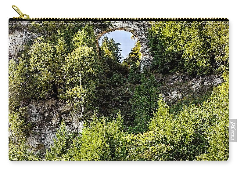Arch Rock Mackinac Island Michigan Carry-all Pouch featuring the photograph Arch Rock Mackinac Island Michigan by LeeAnn McLaneGoetz McLaneGoetzStudioLLCcom
