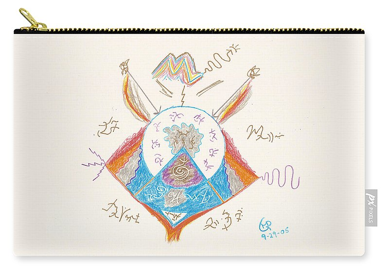 Michael Carry-all Pouch featuring the drawing Archangel Michael by Mark David Gerson
