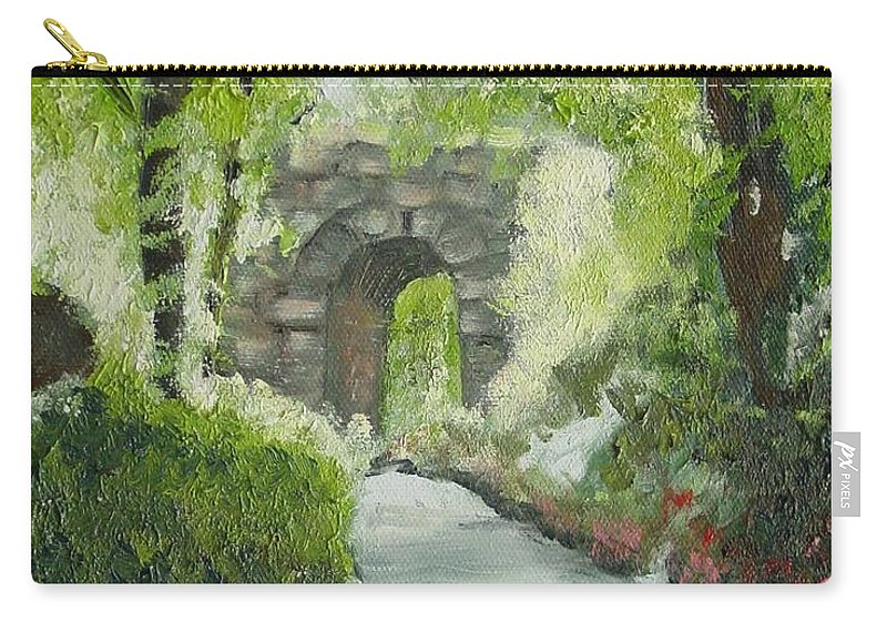 New York Carry-all Pouch featuring the painting Archway In Central Park by Laurie Morgan