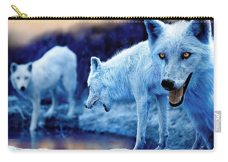 Wolf Carry-all Pouch featuring the photograph Arctic White Wolves by Mal Bray
