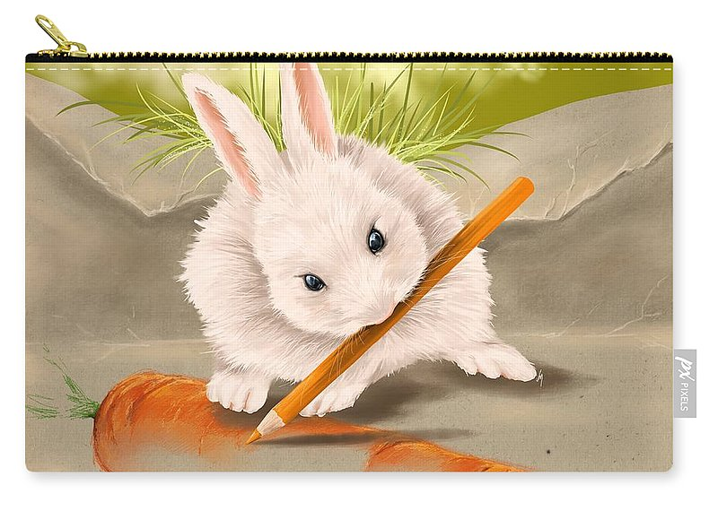 Bunny Carry-all Pouch featuring the painting Are You Hungry? by Veronica Minozzi