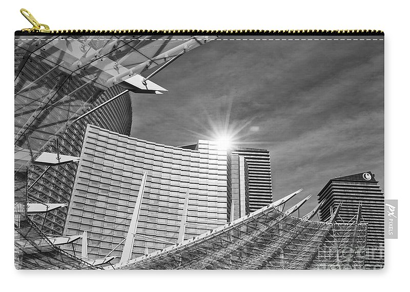 Aria Resort Carry-all Pouch featuring the photograph Aria Sun - Aria Resort And Casino At Citycenter In Las Vegas by Jamie Pham