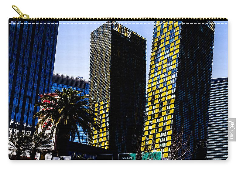 Las Vegas Carry-all Pouch featuring the photograph Aria Towers by Angus Hooper Iii