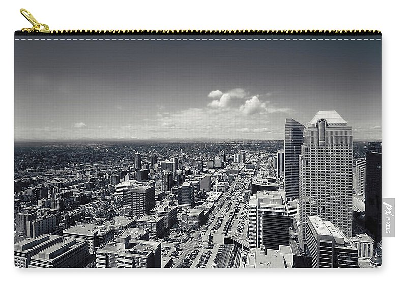 Lisa Knechtel Carry-all Pouch featuring the photograph Arial View Of Calgary Facing West by Lisa Knechtel