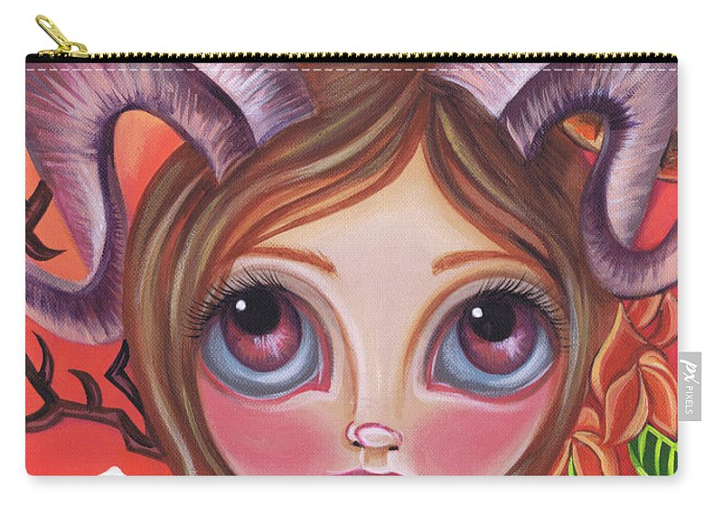 Orange Carry-all Pouch featuring the painting Aries by Jaz Higgins